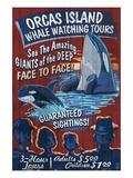 Orcas Island, Washington - Whale Watching Art by  Lantern Press