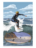 Day Surfer with Inset Posters by Lantern Press