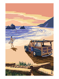 Woody on Beach Poster by  Lantern Press