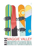 Maggie Valley, North Carolina - Snowboards in Snow Print by  Lantern Press
