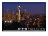 Seattle, Washington - Skyline and Rainier at Night Posters by  Lantern Press