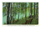Rhinelander, Wisconsin - Wisconsin River Banks Scene Print by Lantern Press 