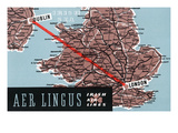 Dublin, Ireland - Aer Lingus Irish Airlines, Map View of Dublin-London Route Poster by  Lantern Press