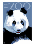 Panda Face - Visit the Zoo Poster by  Lantern Press