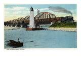 Sault Ste. Marie, Michigan - International Bridge Scene Kunst von  Lantern Press