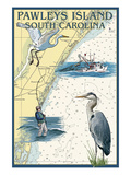 Pawleys Island, South Carolina - Nautical Chart Poster von  Lantern Press