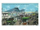 Long Beach, California - View of Roller Coaster and Silver Spray Pier Poster by  Lantern Press