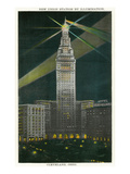 Cleveland, Ohio - New Union Station Illuminated at Night Prints by  Lantern Press