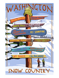 Washington - Snow Country Sign Destinations Konst av  Lantern Press