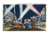 Hollywood, California - Hollywood Boulevard at Night Poster by  Lantern Press