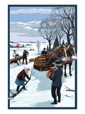 Amish Gathering Firewood Winter Scene Plakater af Lantern Press