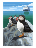 Puffin and Cruise Ship - Pacific Prints by  Lantern Press