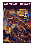 Las Vegas Strip at Night Prints by  Lantern Press