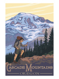 Cascade Mountains, Oregon - Hiking Scene Poster by  Lantern Press