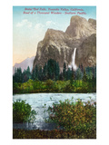 Yosemite Nat'l Park, California - Scenic View of Bridal Veil Falls Prints by  Lantern Press