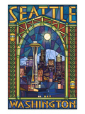 Stained Glass Window - Seattle, WA Posters par  Lantern Press
