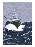 Fisherman Boat in Waves Prints by  Lantern Press