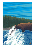 Grizzly Bear Fishing Posters by  Lantern Press