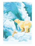 Polar Bear and Cub Print by  Lantern Press