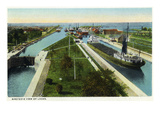 Sault Ste. Marie, Michigan - Aerial View of Locks Art by Lantern Press
