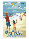 Kite Flyers - Kiawah Island, South Carolina Prints by  Lantern Press