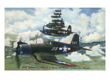 Jacksonville, Florida - US Navy Corsairs in Flight Near Naval Air Station Prints by  Lantern Press