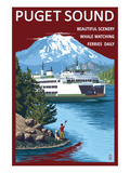 Ferry and Mount Rainier Scene - Puget Sound, Washington Posters by Lantern Press