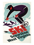 Snowshoe, West Virginia - Vintage Skier Print by  Lantern Press