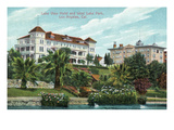 Los Angeles, California - West Lake Park View of Lake View Hotel Prints by  Lantern Press