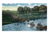 Camp Life - Battery Gun River Crossing Scene Print by  Lantern Press