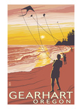 Beach and Kites - Gearhart, Oregon Prints by  Lantern Press