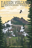Diamond Peak - Lassen Volcanic National Park, CA Print by Lantern Press