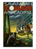 Zombie Apocalypse - Savannah, Georgia Posters by Lantern Press
