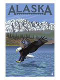 Alaska - Eagle Diving Prints by  Lantern Press
