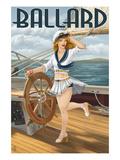 Ballard - Seattle, Washington - Pinup Girl Sailing Prints by  Lantern Press