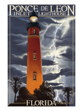 Ponce De Leon Inlet Lighthouse, Florida - Lightning at Night Posters par  Lantern Press