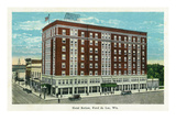 Fond Du Lac, Wisconsin - Hotel Retlaw Exterior Prints by  Lantern Press
