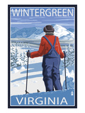 Wintergreen, Virginia - Skier Admiring View Poster by  Lantern Press