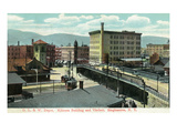 Binghamton, New York - Delaware, Lackawanna, and Western Rail Depot Pósters por  Lantern Press
