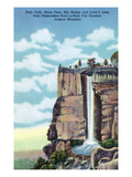 Lookout Mt., TN - Rock City Gardens, View of High Falls, Stone Face, Sky Bridge, Lover's Leap Prints by  Lantern Press
