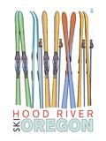 Hood River, Oregon - Skis in Snow Poster by  Lantern Press