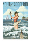 South Carolina - Pinup Girl Surf Fishing Print by  Lantern Press
