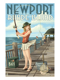 Newport, Rhode Island - Pinup Girl Fishing Kunstdrucke von Lantern Press 