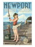Newport, Rhode Island - Pinup Girl Fishing Prints by  Lantern Press