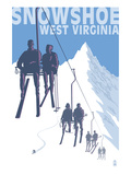 Snowshoe, West Virginia - Skiers on Lift Posters by Lantern Press