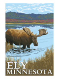 Ely, Minnesota - Moose and Lake Prints by  Lantern Press