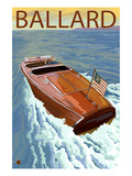 Ballard - Seattle, Washington - Chris Craft Boat Print by Lantern Press