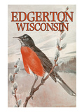 Nature Magazine - View of a Red-Breasted Robin on a Pussywillow Branch - Edgerton, Wisconsin Affiches par  Lantern Press