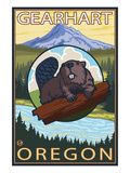 Beaver and Mt. Hood - Gearhart, Oregon Posters par Lantern Press