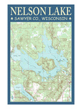 Nelson Lake Chart - Sawyer County, Wisconsin Prints by  Lantern Press
